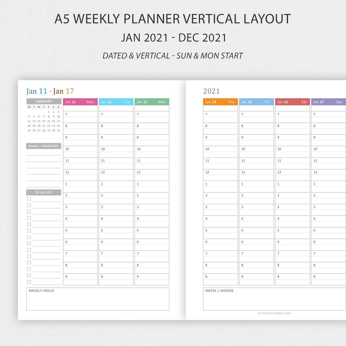 Hourly Calendar 2021 • Printable Blank Calendar Template