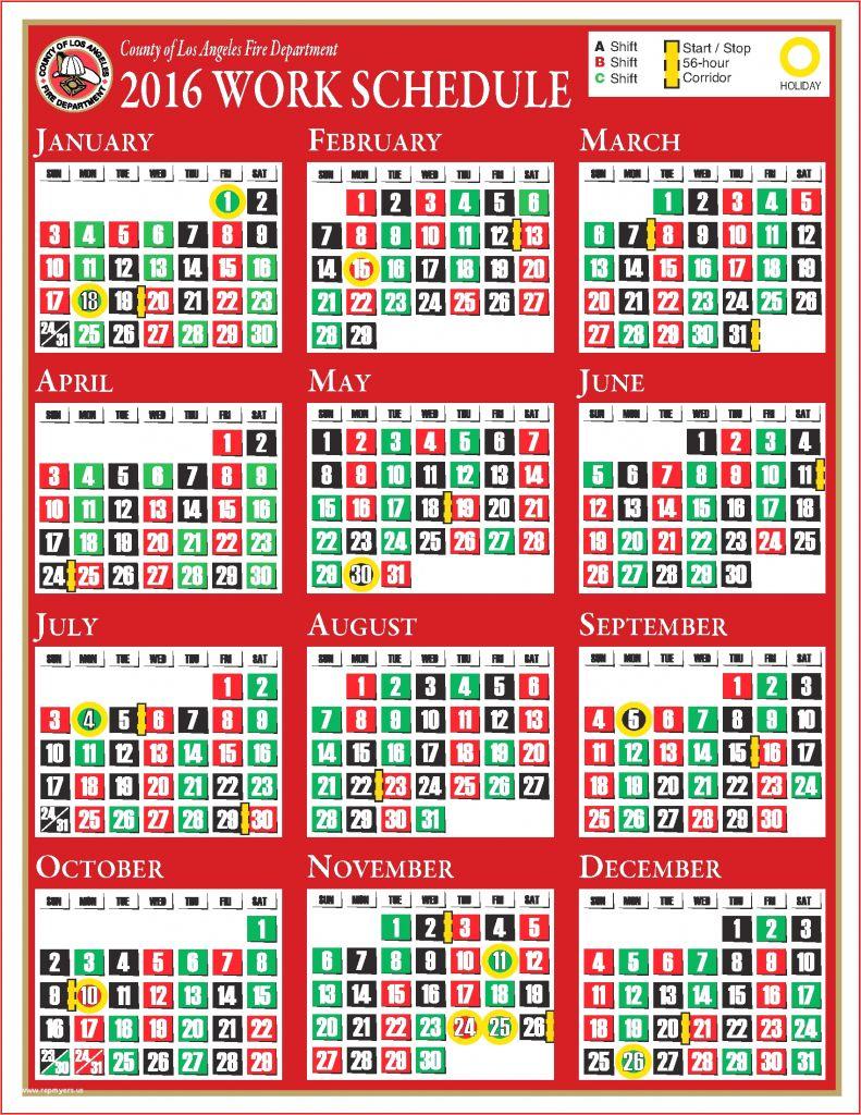 Houston Fire Department Shift Calendar   Printable