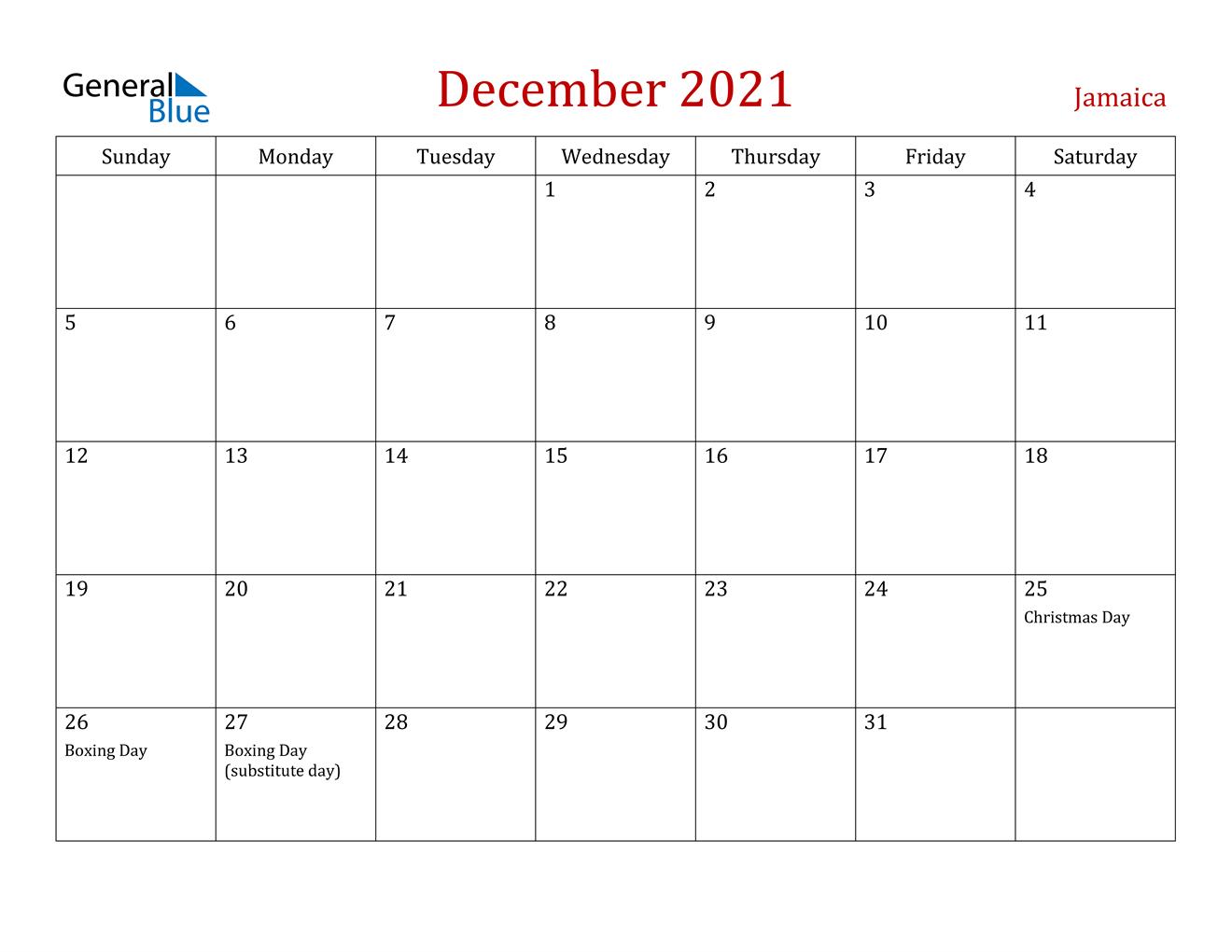 Jamaica December 2021 Calendar With Holidays