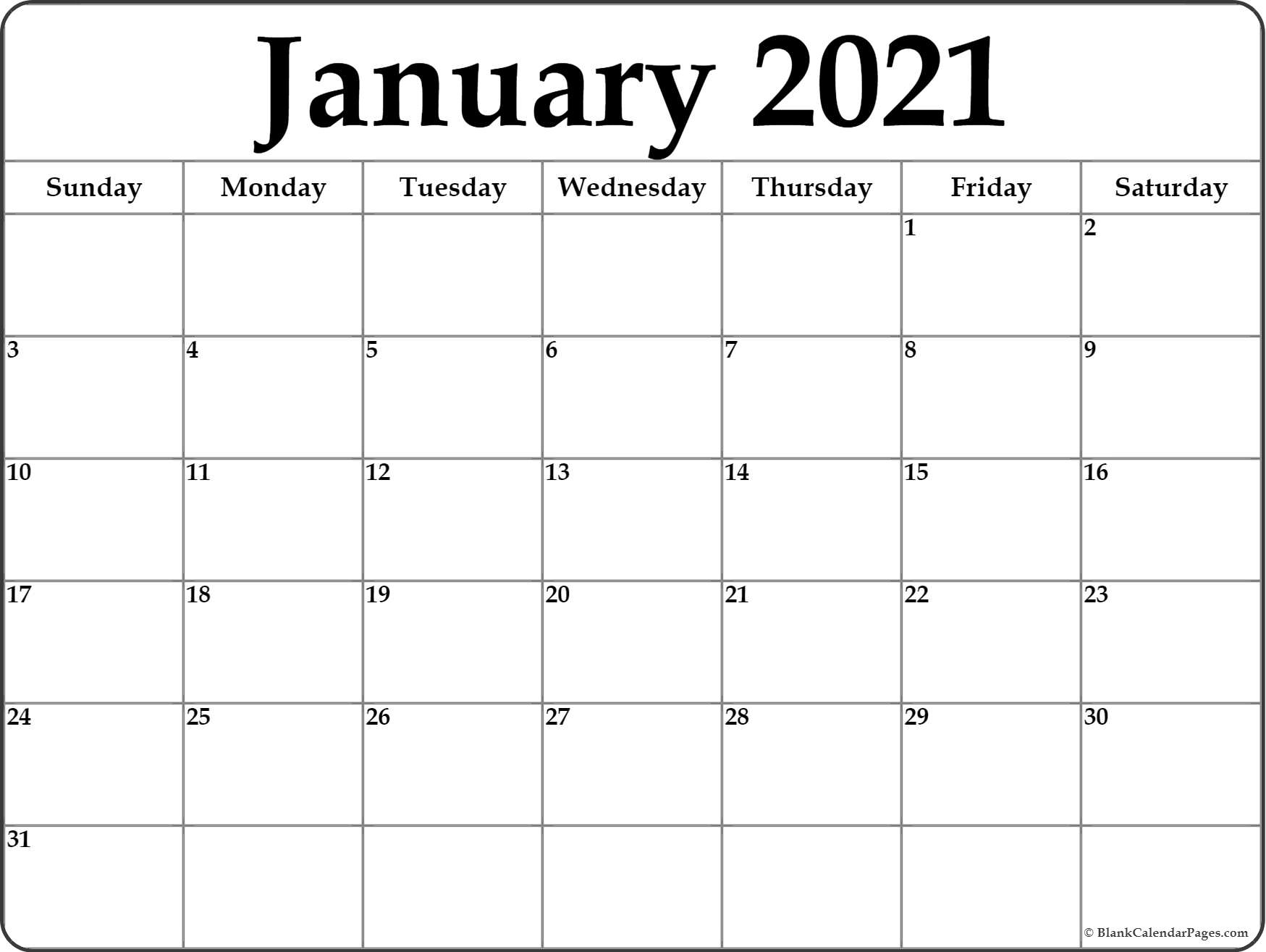 January 2021 Calendar   Free Printable Calendar Templates