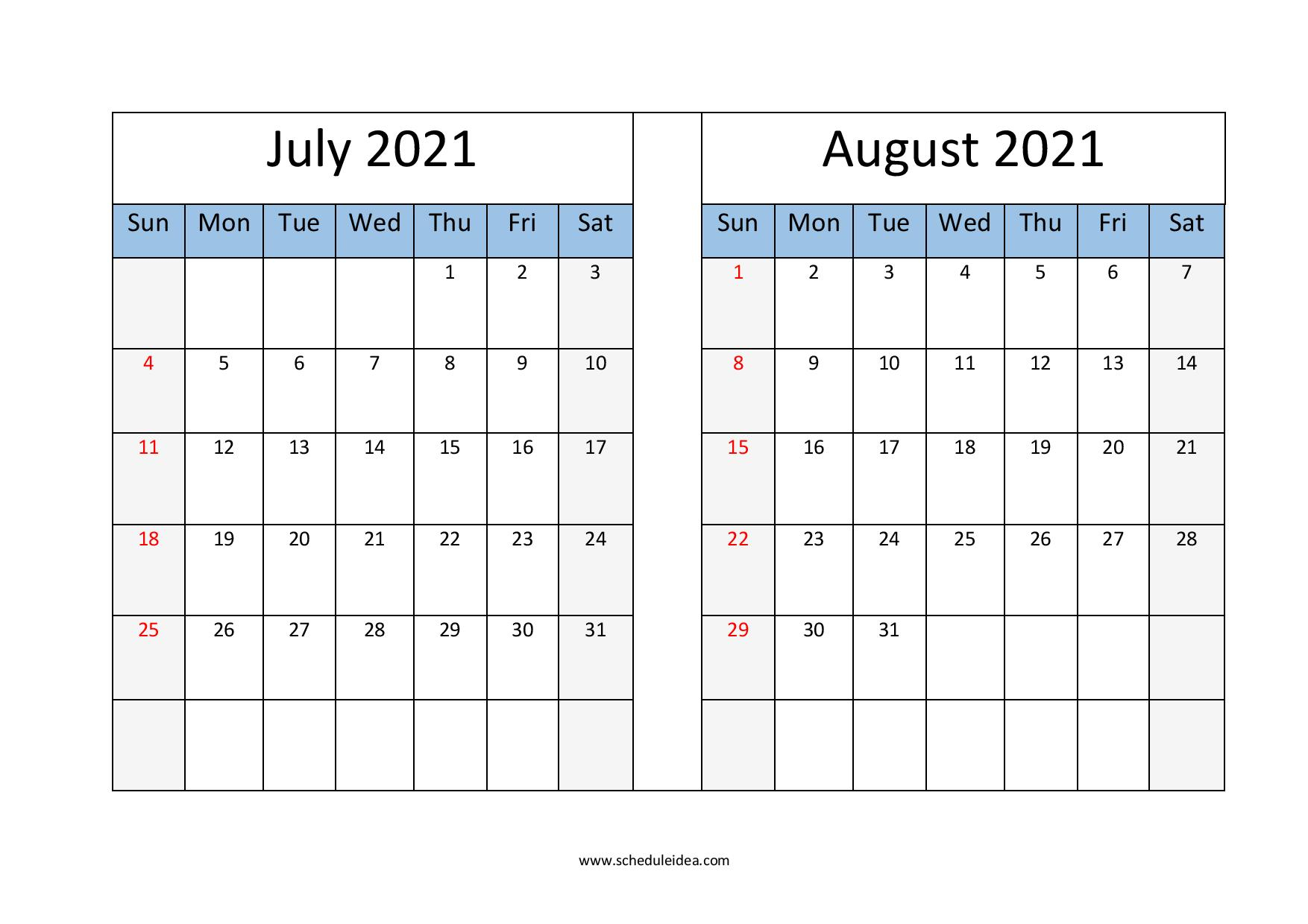 July And August 2021 Printable Calendar (2 Months) Template