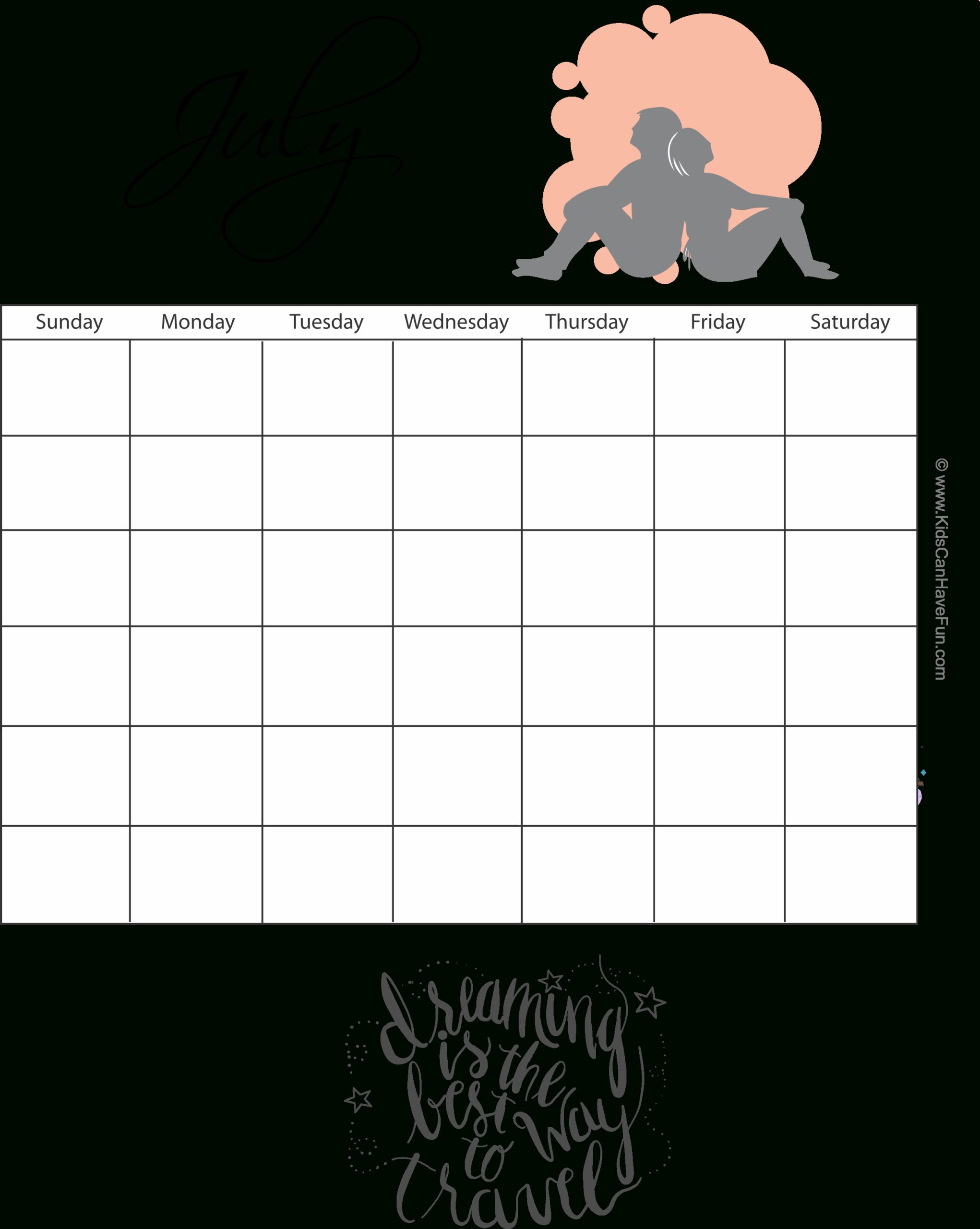 July Monthly Calendar Http://Www.kidscanhavefun