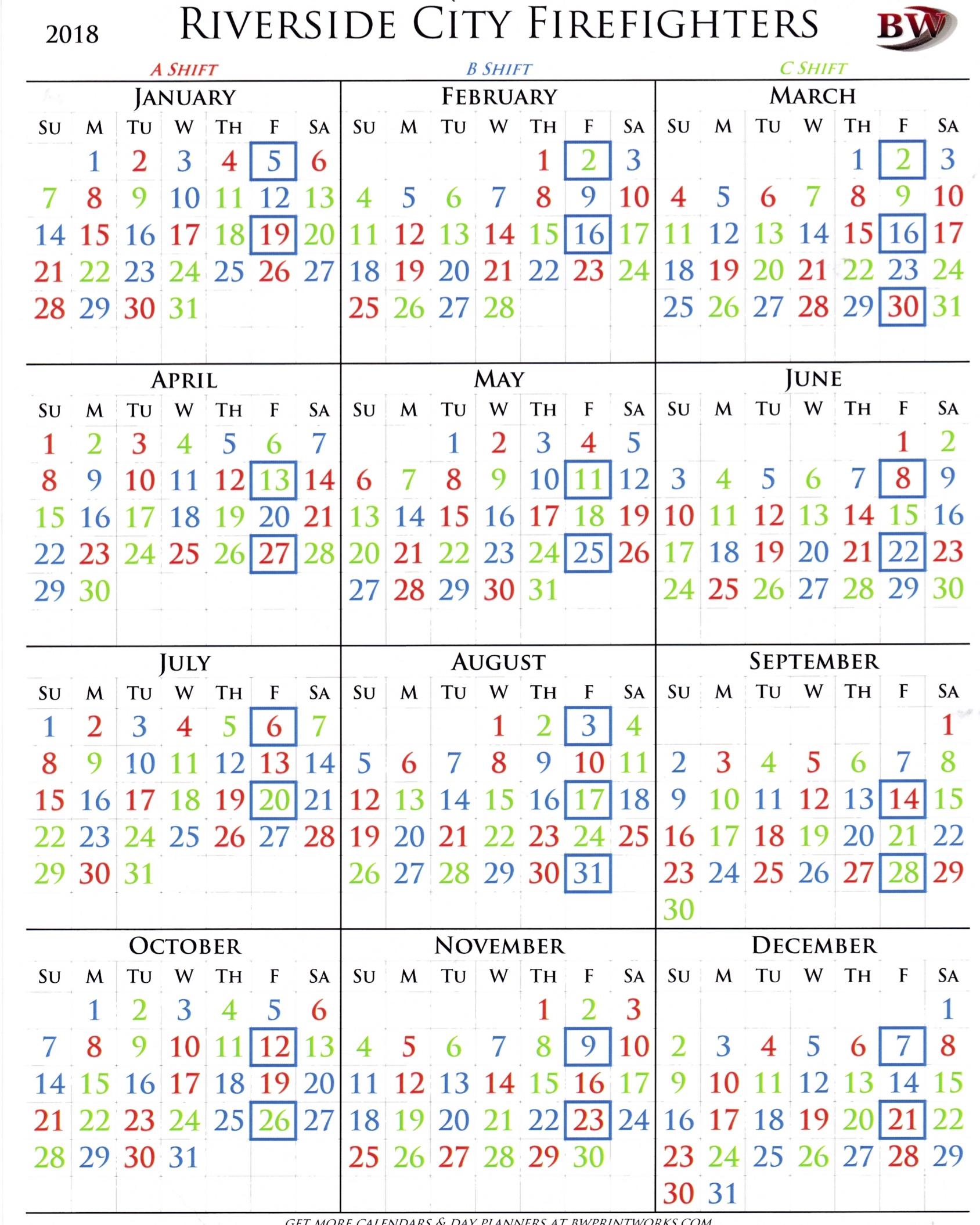 La City Fire Shift Calendar 2019 | Qualads