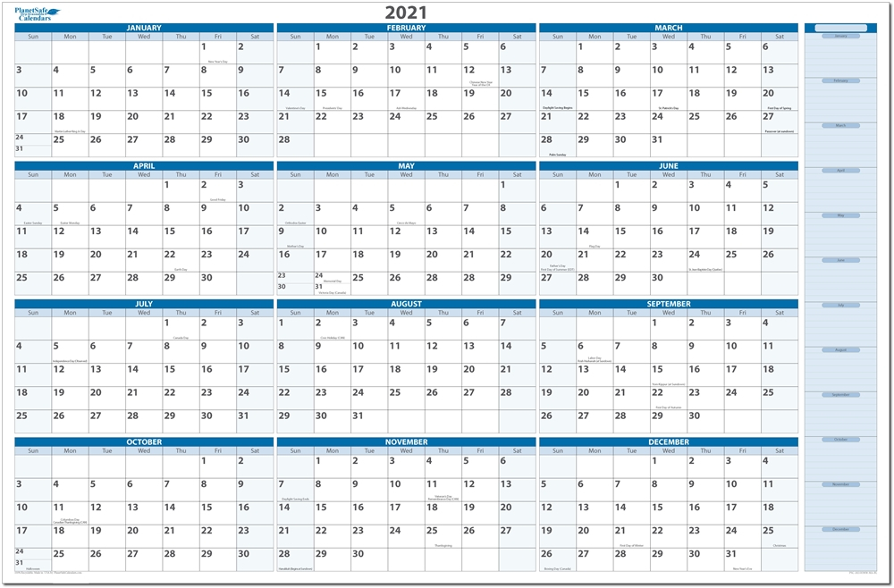 Large Wall Calendar 2021 Dry Erase