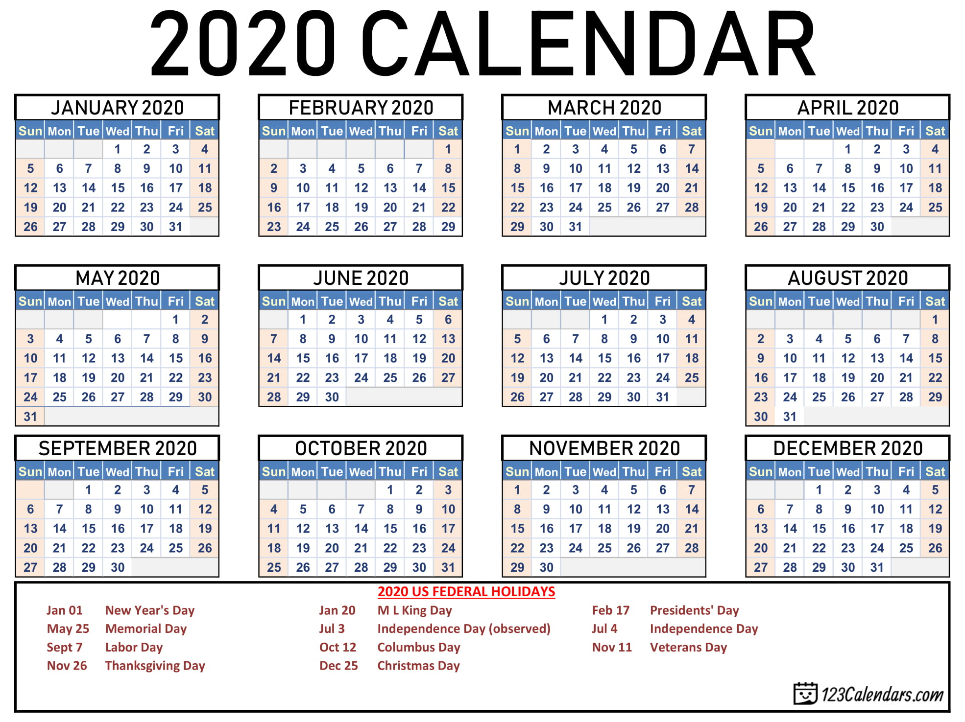 List Of Monthly Holidays 2020   Example Calendar Printable