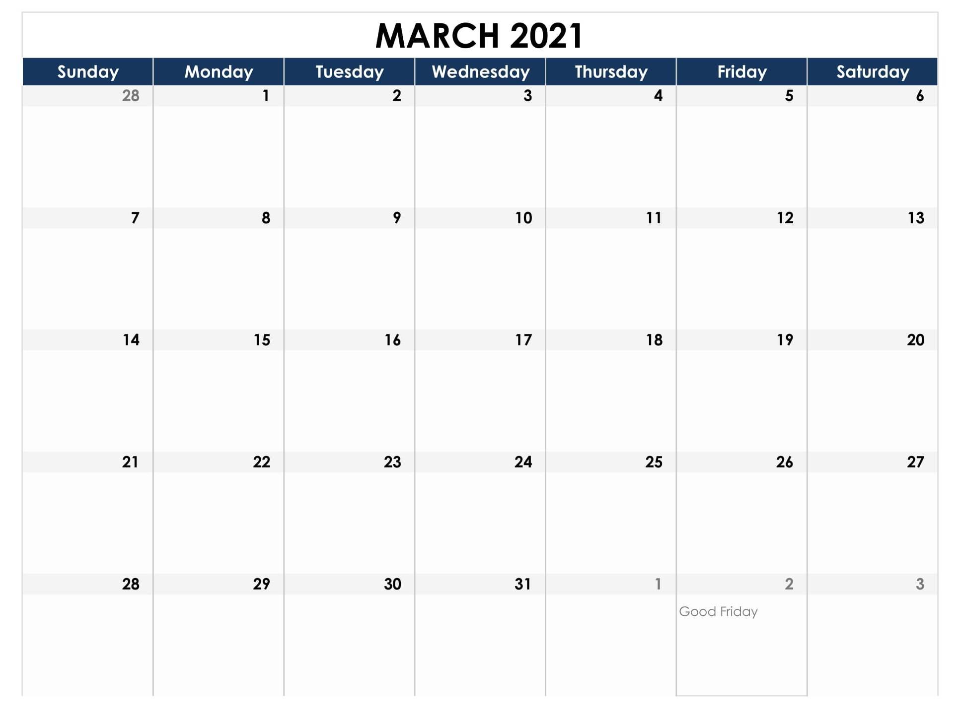 March 2021 Calendar Uk National Holidays Templates - One