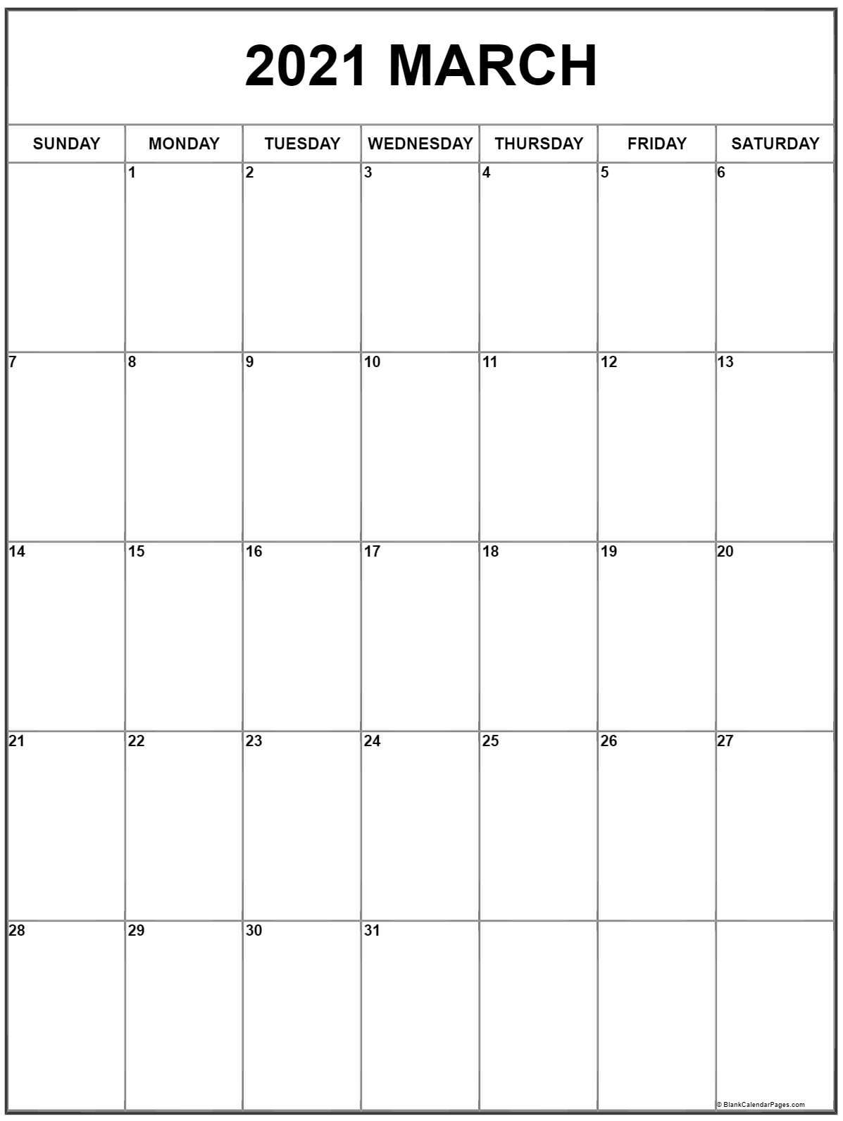 March 2021 Vertical Calendar | Portrait