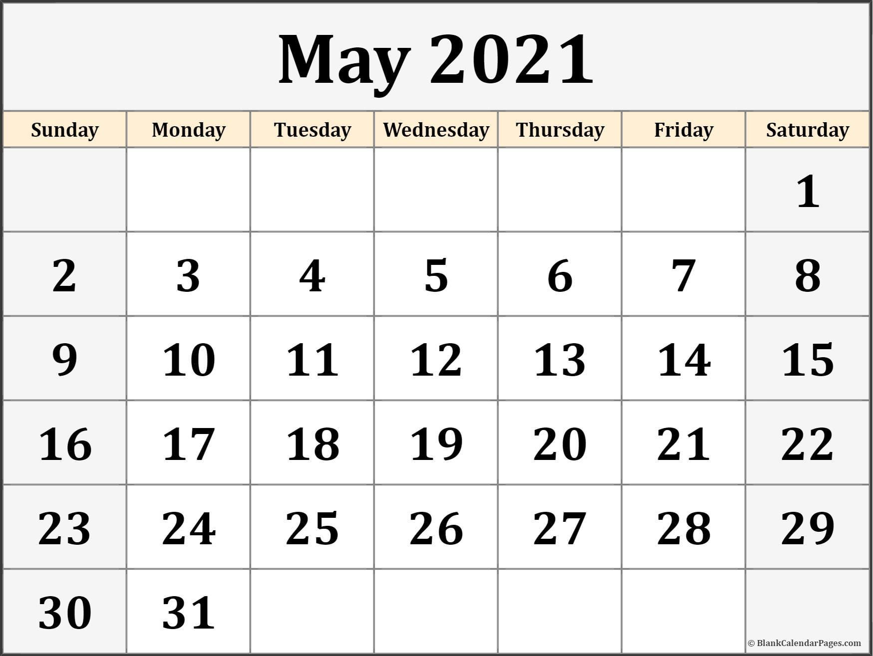 May 2021 Calendar   Free Printable Calendar Templates