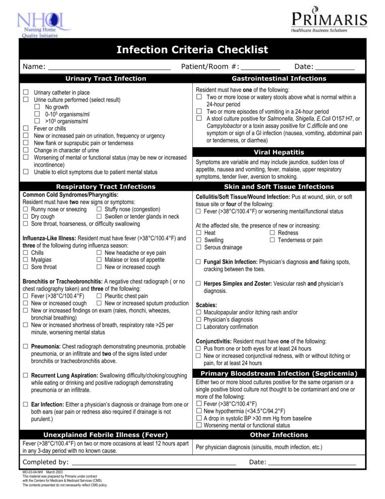 Mcgreer Infection Criteria 2021   Calendar Printables Free
