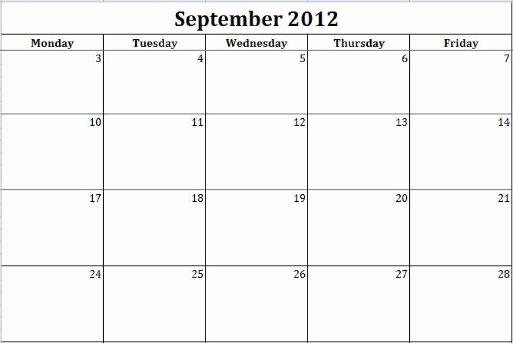Monday Through Friday Schedule Template Luxury Monday