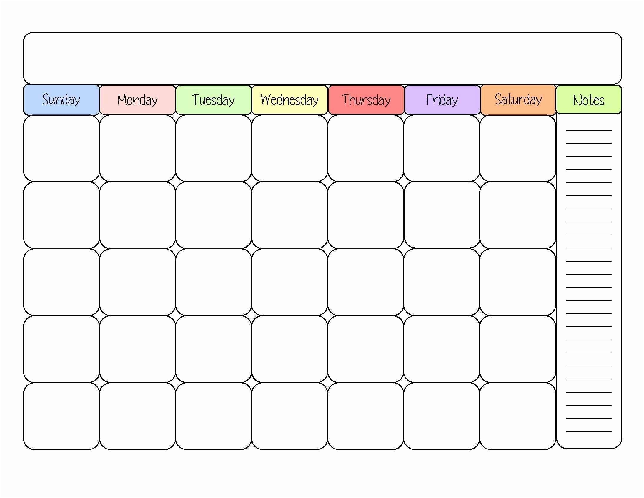 Month At A Glance Blank Calendar Template   Example