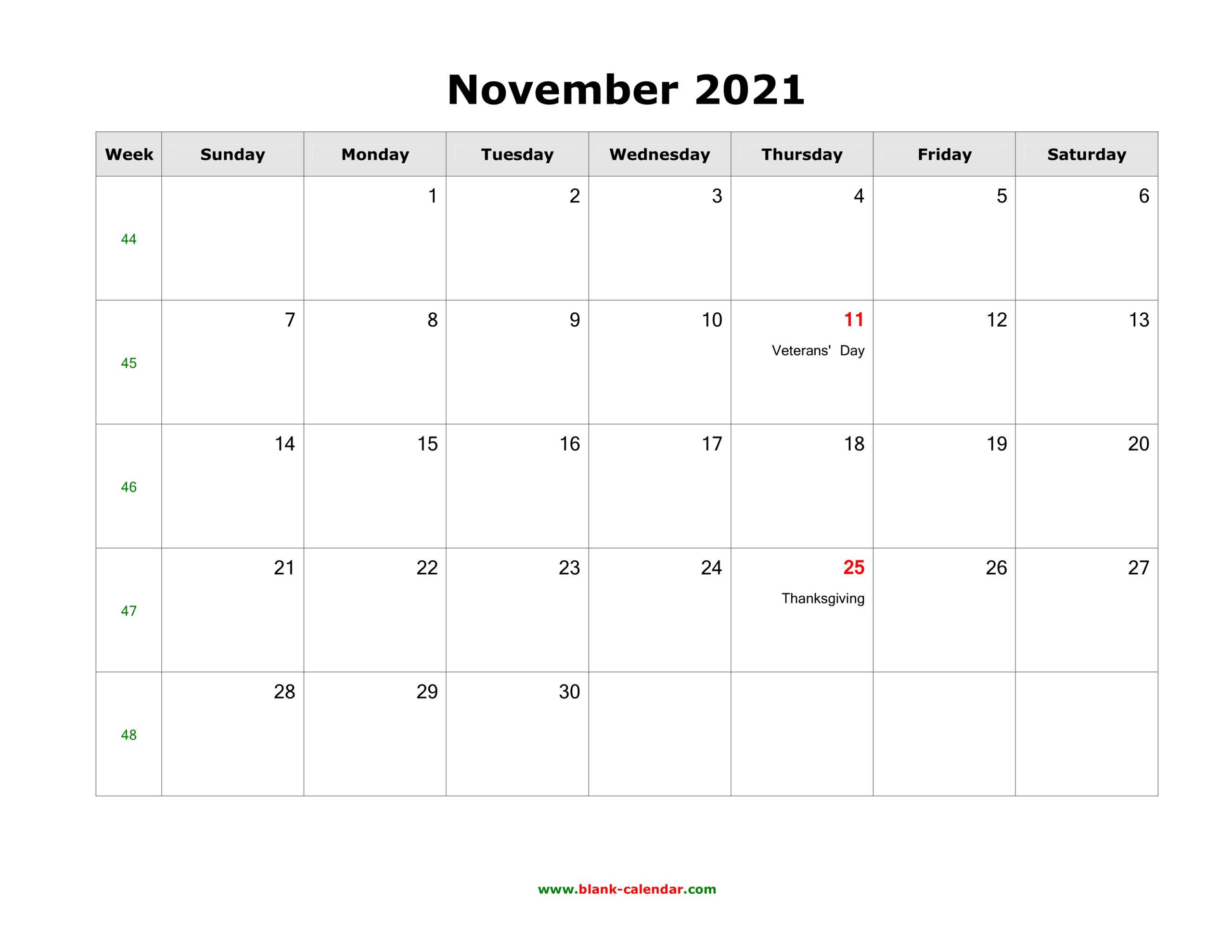November 2021 Blank Calendar   Free Download Calendar