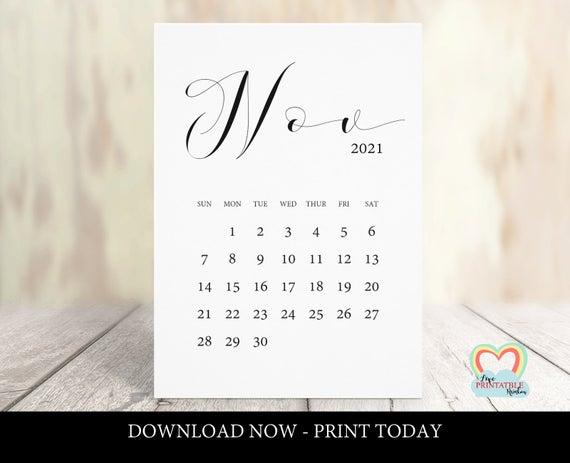 November 2021 Calendar Printable Baby Due Date November