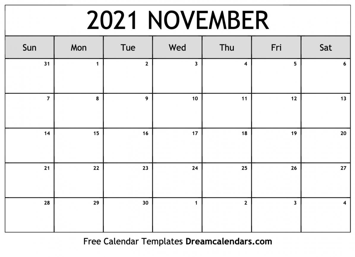 November 2021 Calendar Printable   Free Letter Templates