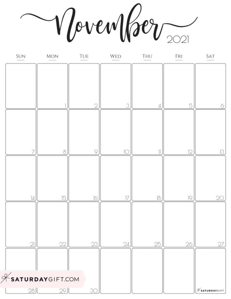 November 2021 Calendar Printable Vertical | Free Printable