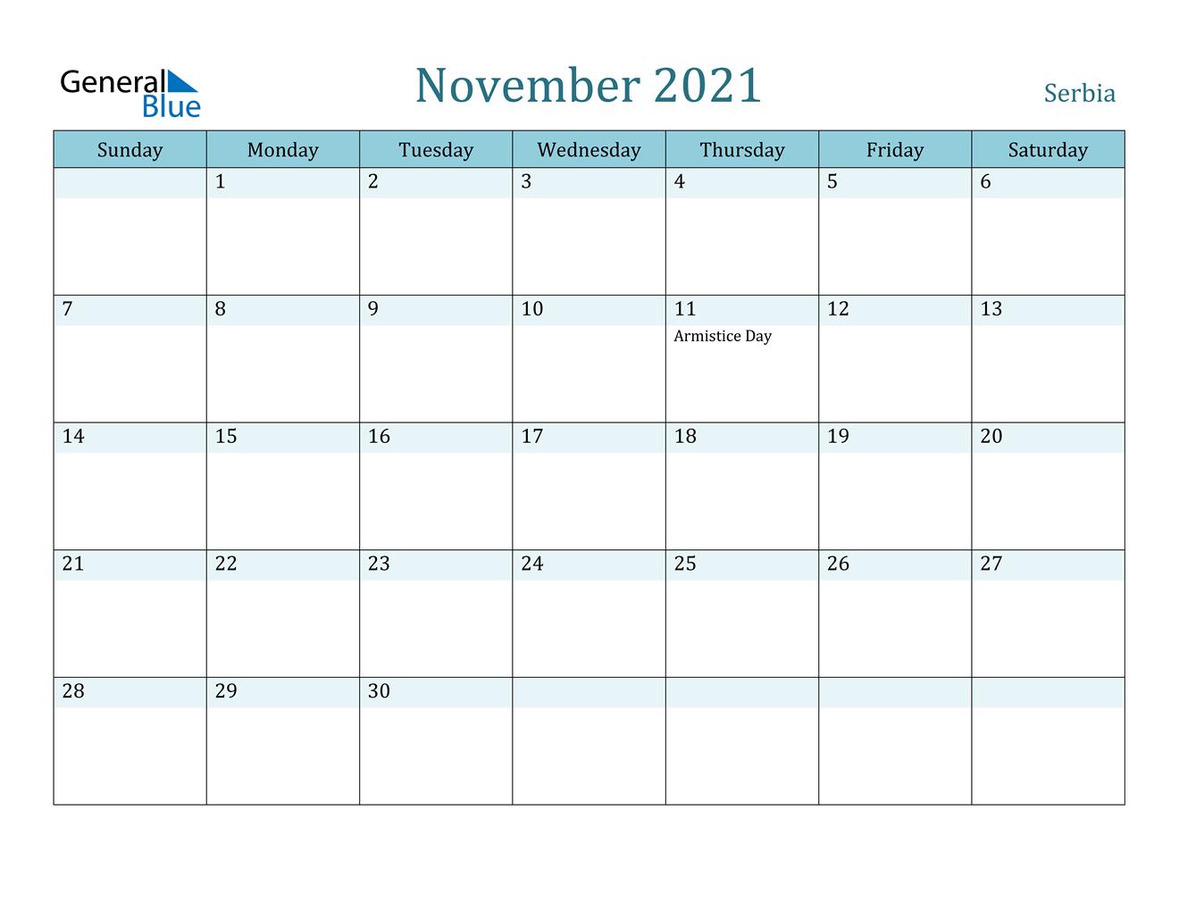 November 2021 Calendar - Serbia