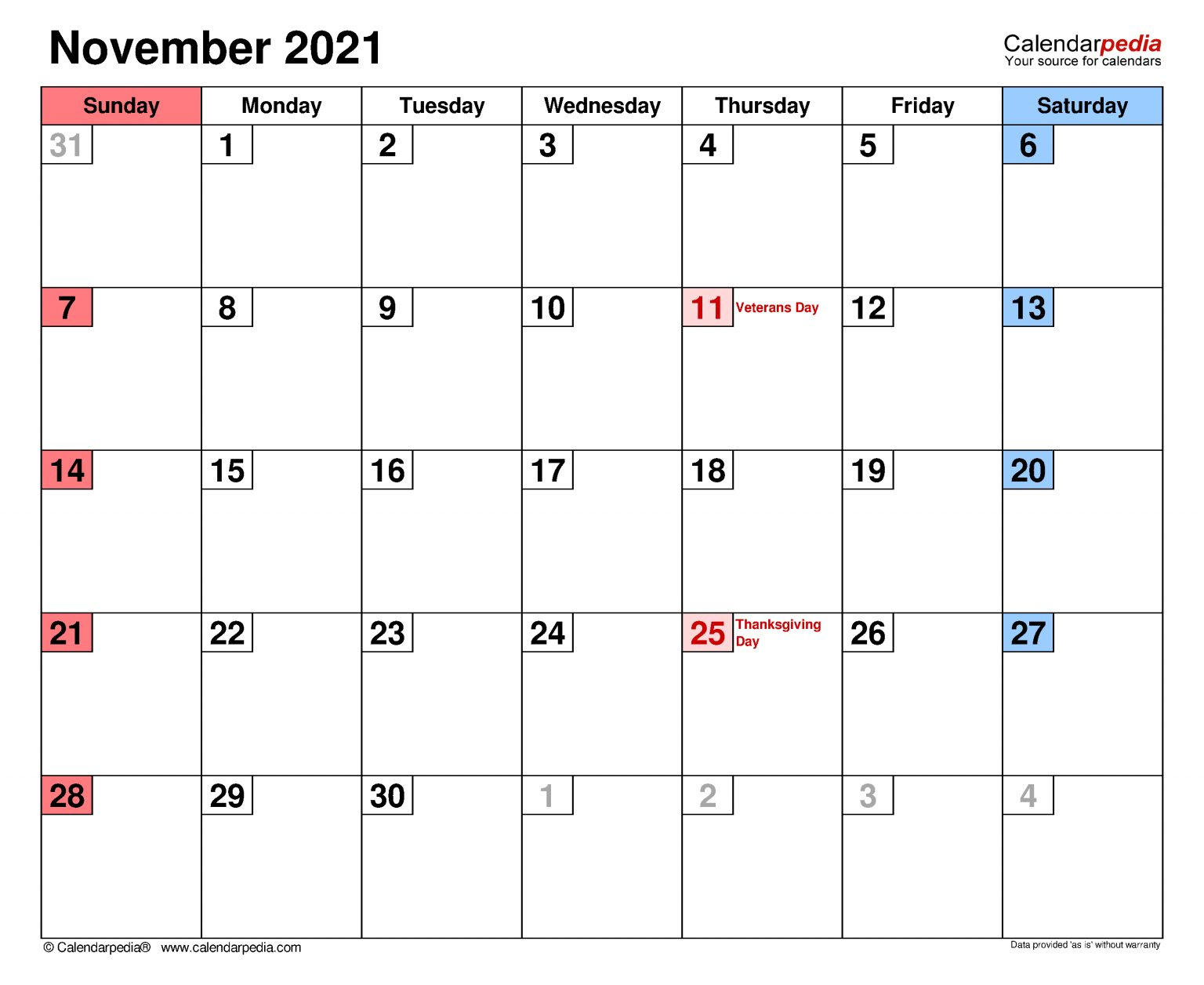 November 2021 Calendar Templates For Word Excel And Pdf