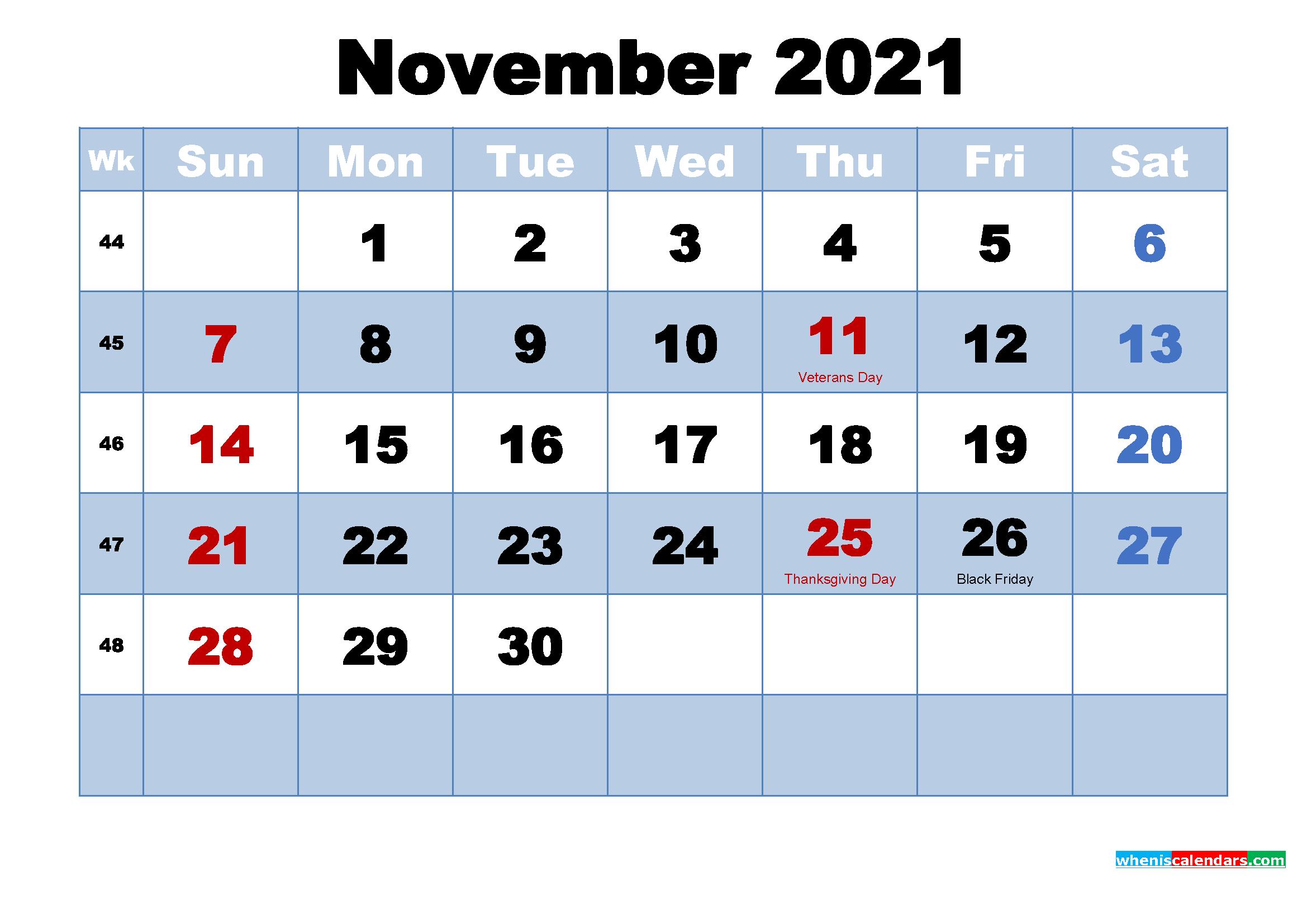 November 2021 Calendar With Holidays Printable - Free
