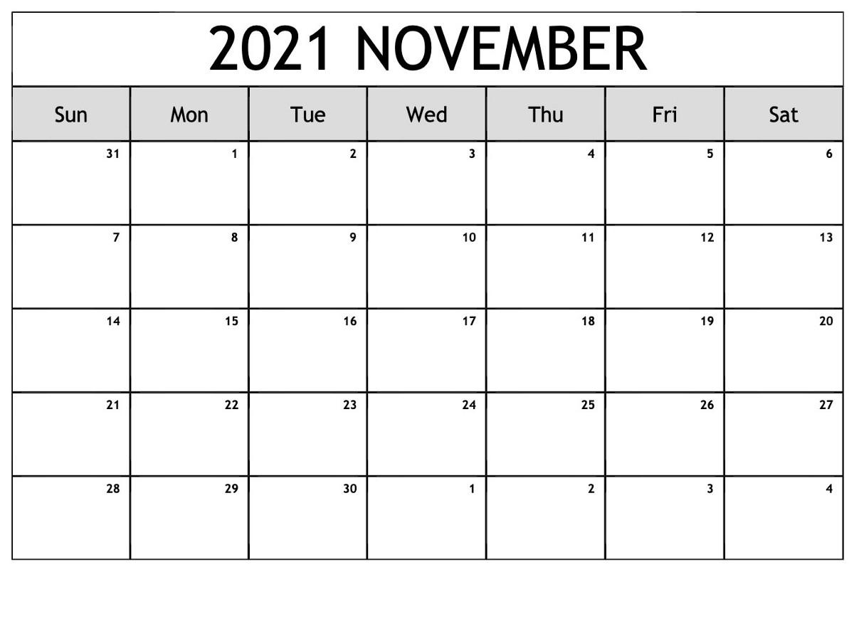 November 2021 Calendar With Thanksgiving Holiday Free Pdf
