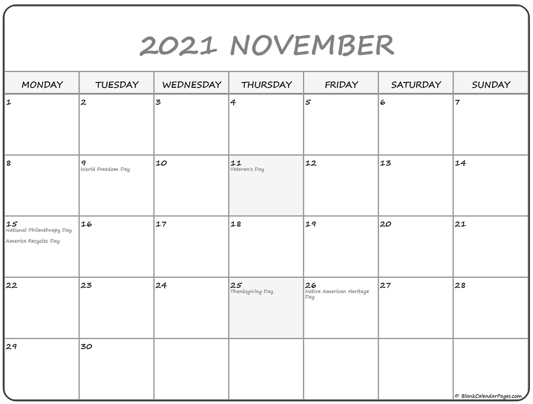 November 2021 Fill In Calendar   Calendar Template Printable