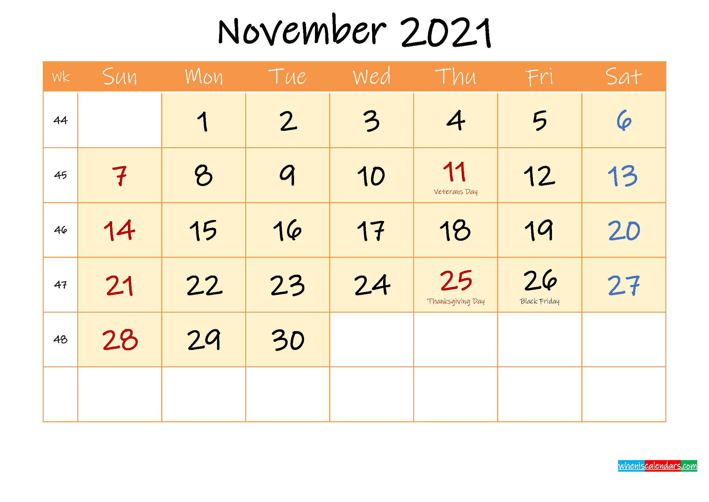 November 2021 Free Printable Calendar - Template Ink21M167