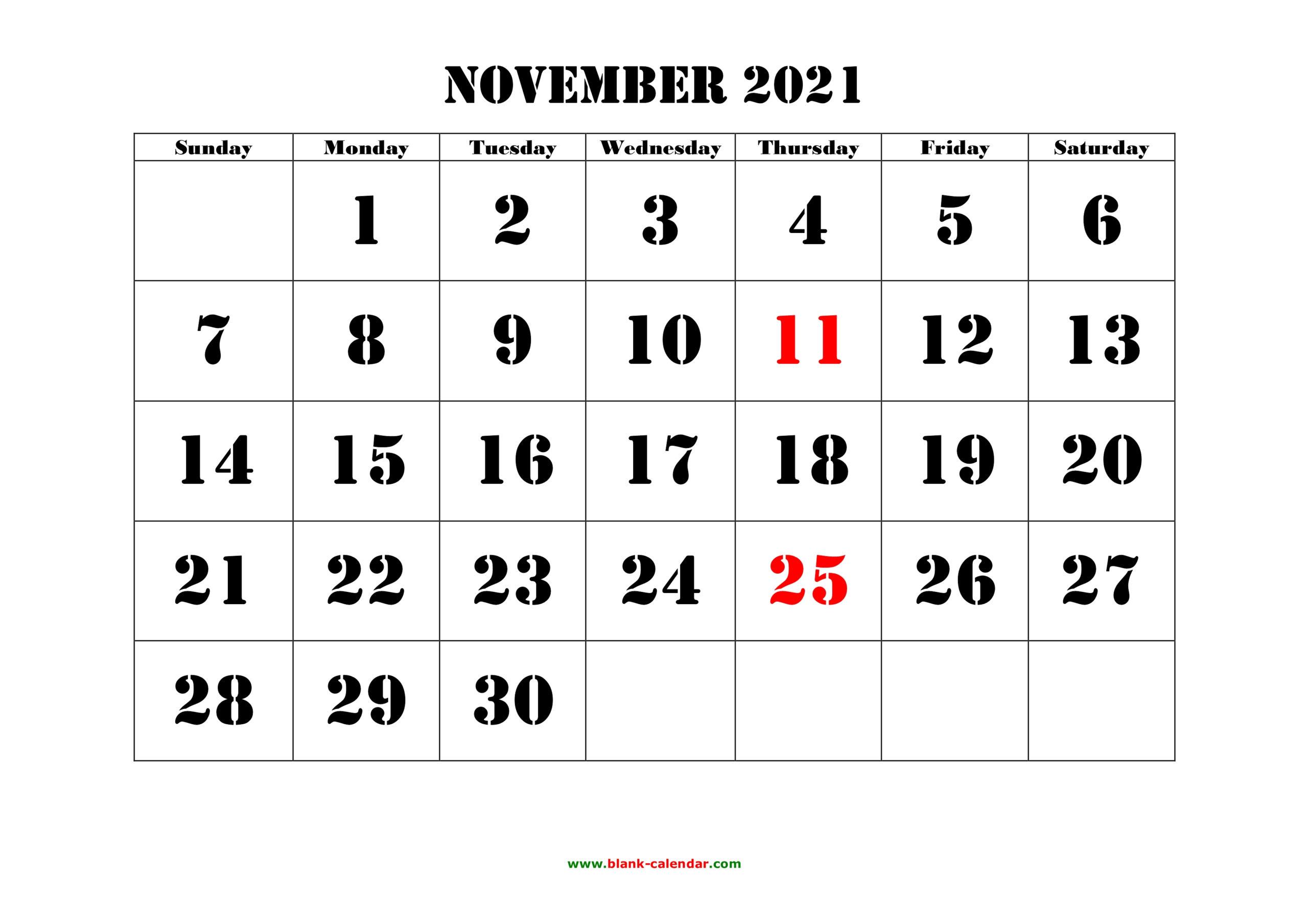 November 2021 Printable Calendar | Free Download Monthly