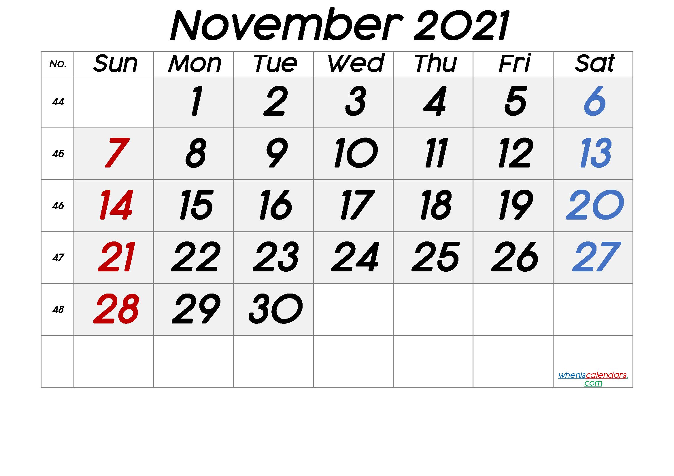 November 2021 Printable Calendar [Free Premium] | Calendar