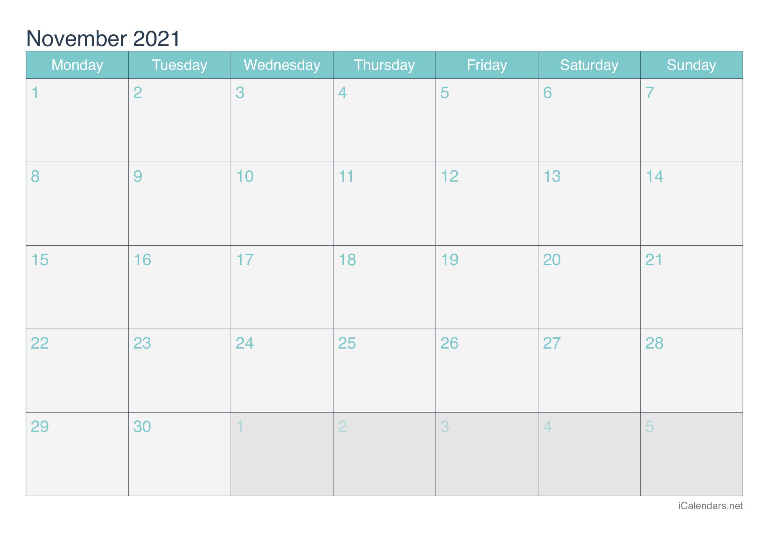 November 2021 Printable Calendar - Icalendars