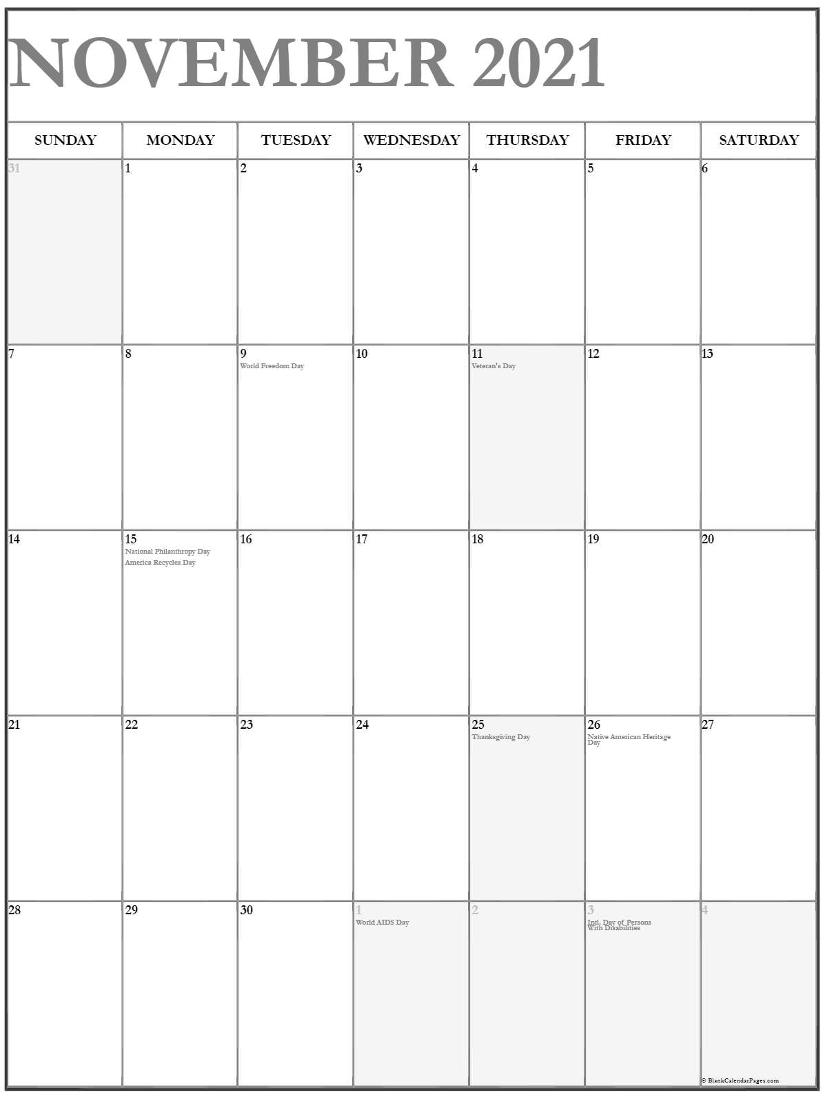 November 2021 Vertical Calendar   Portrait