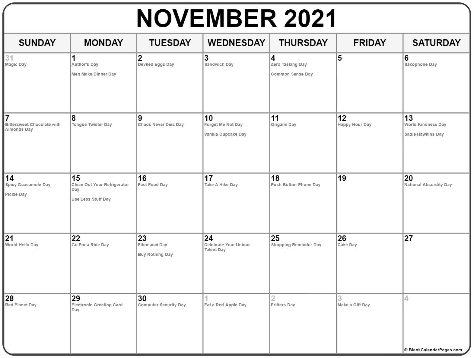 November 2021 With Holidays Calendar