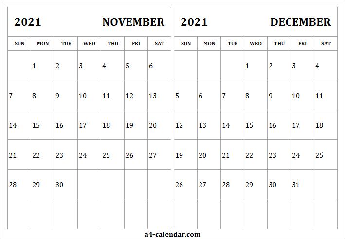 November December 2021 Calendar Page - A4 Calendar