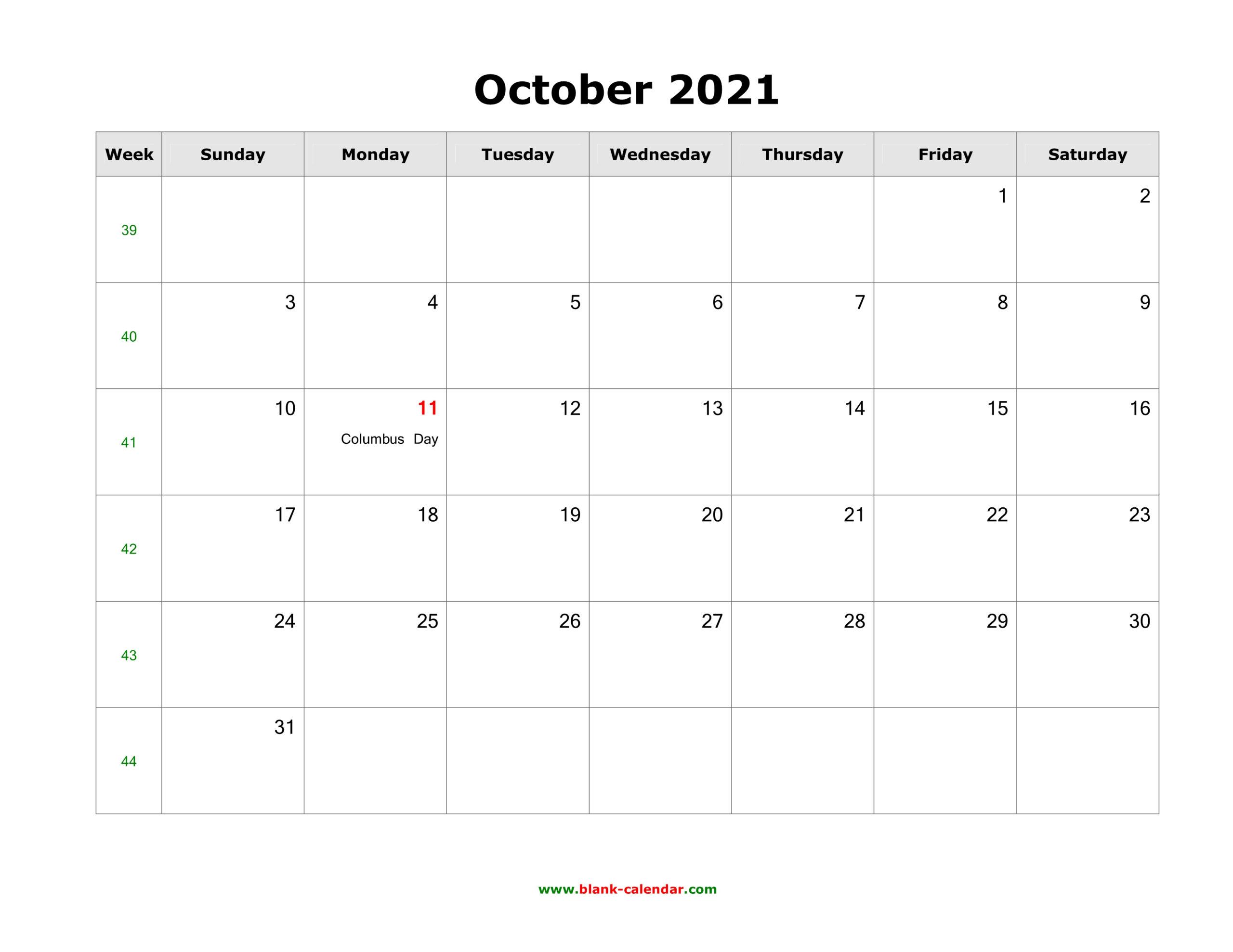 October 2021 Blank Calendar | Free Download Calendar Templates