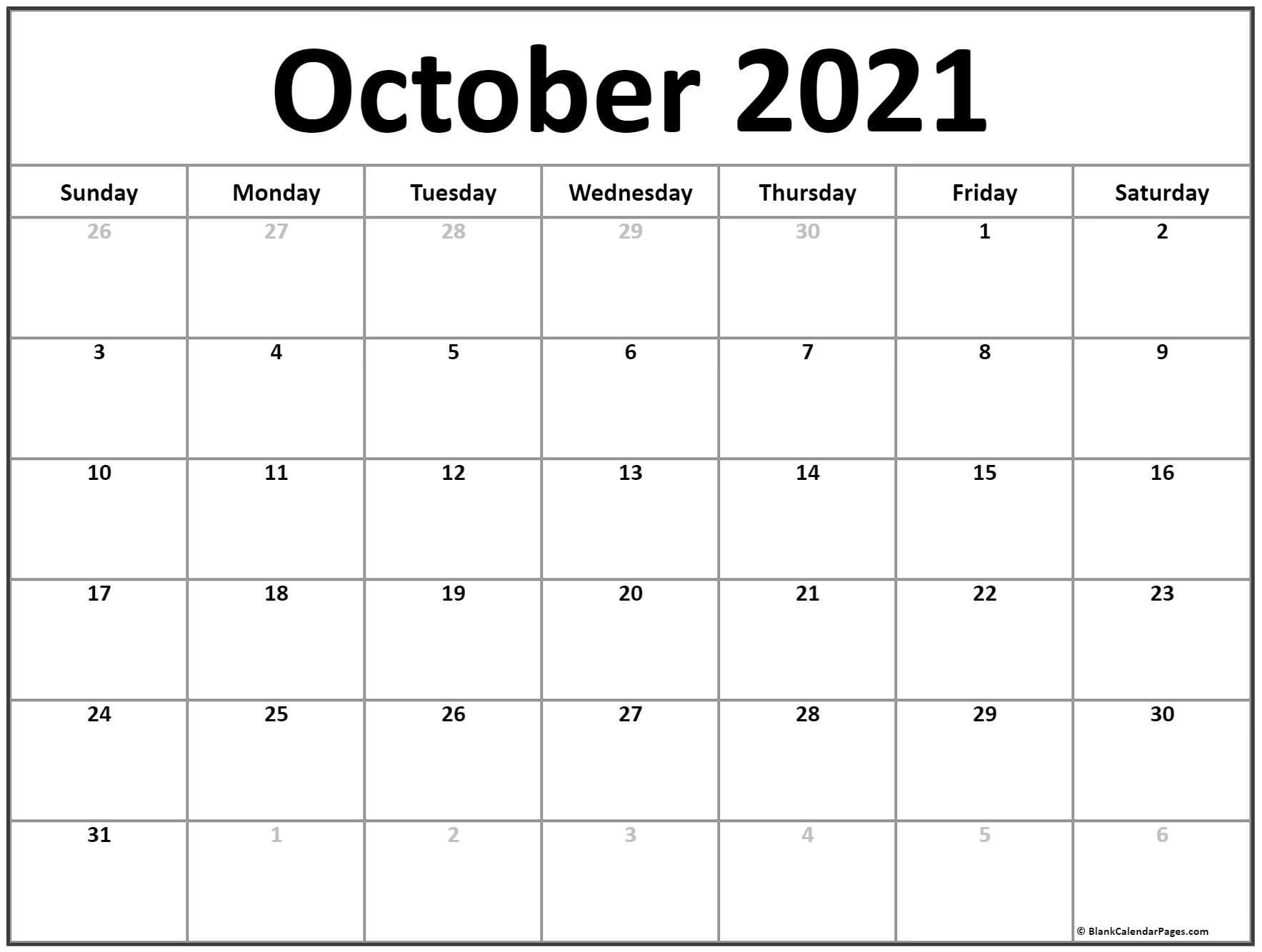 October 2021 Calendar | Free Printable Calendar Templates