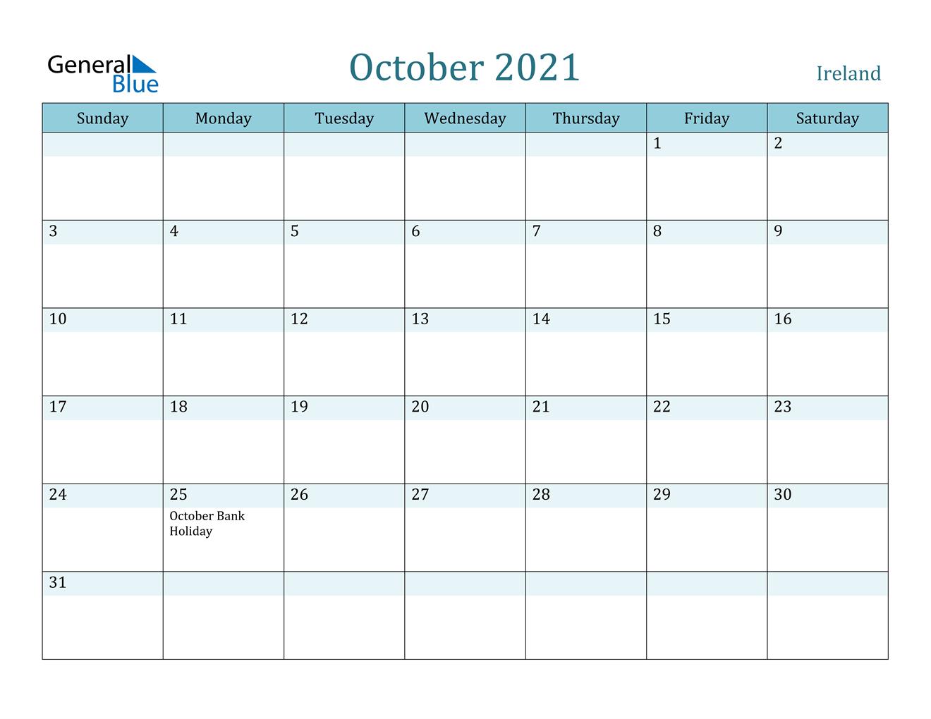 October 2021 Calendar - Ireland