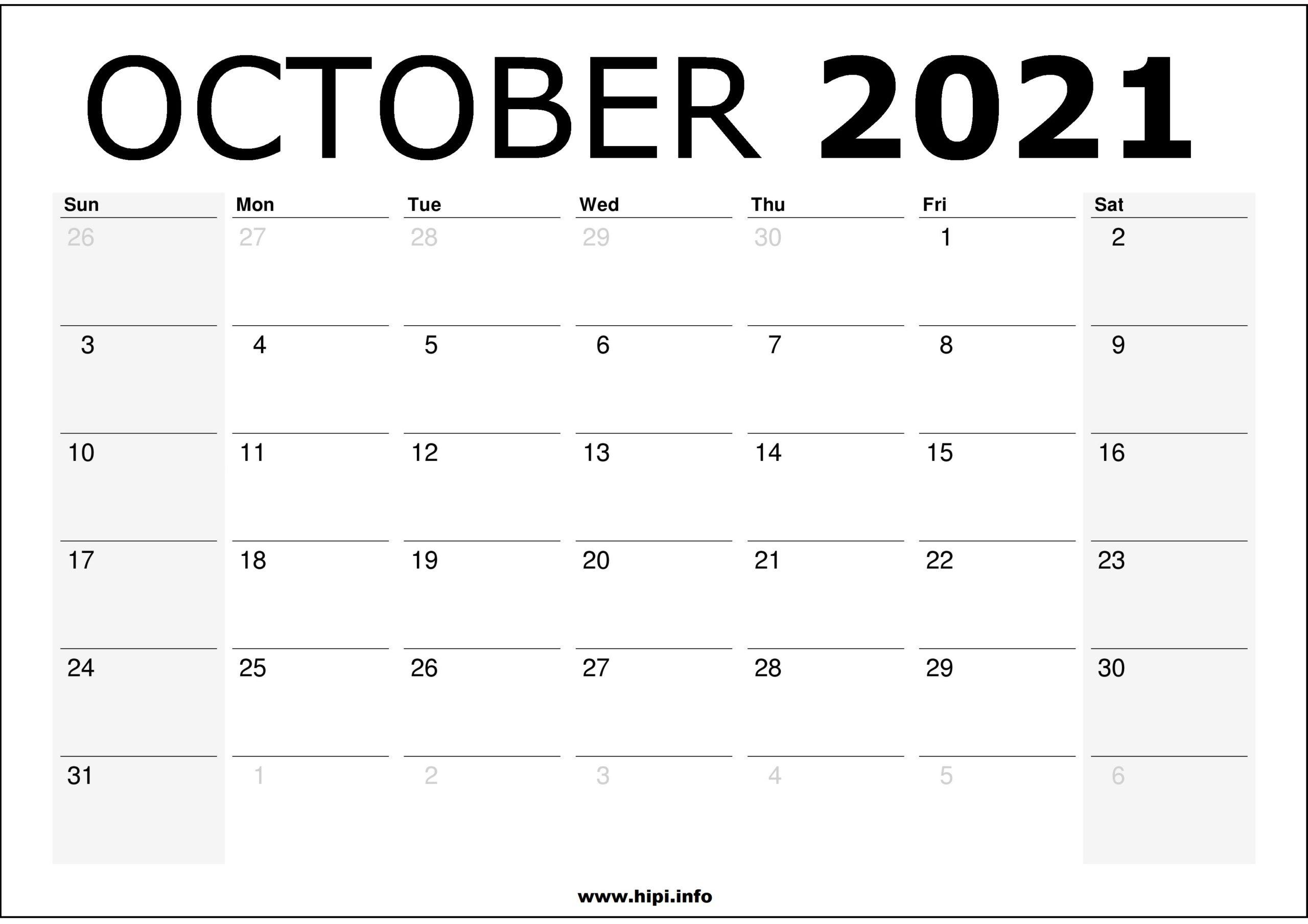 October 2021 Calendar Printable - Monthly Calendar Free