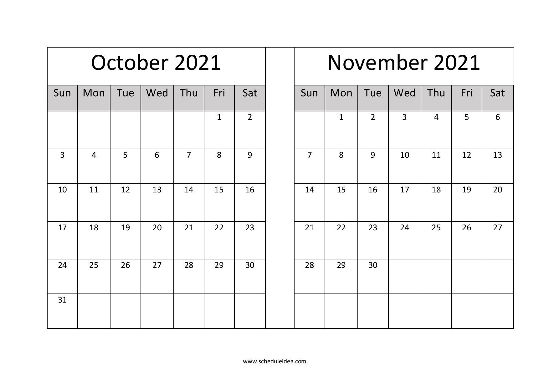 October And November 2021 Printable Calendar (2 Months)