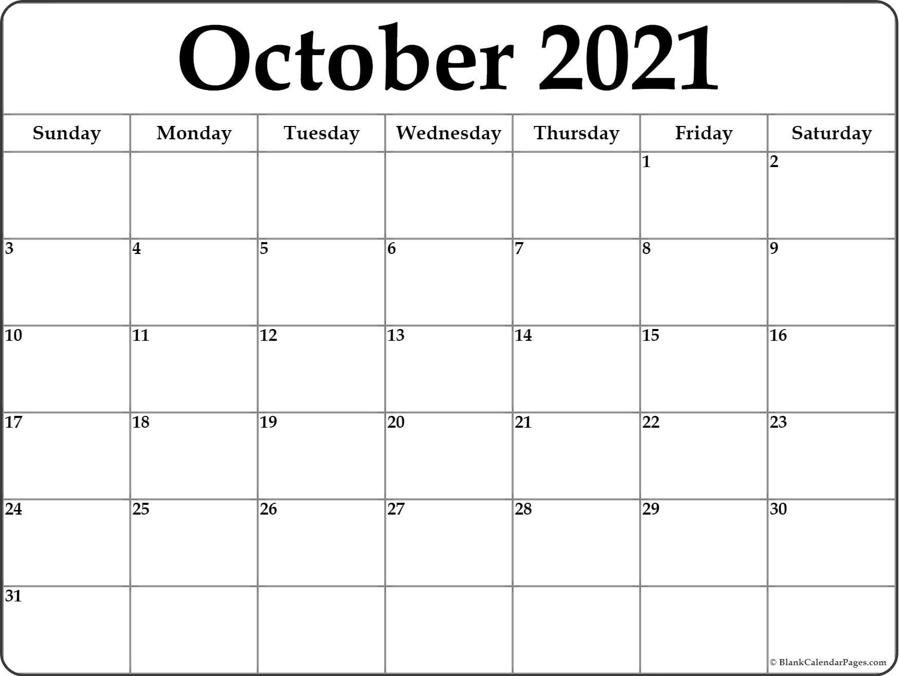October Monthly Calendar 2021 | 2021 Calendar
