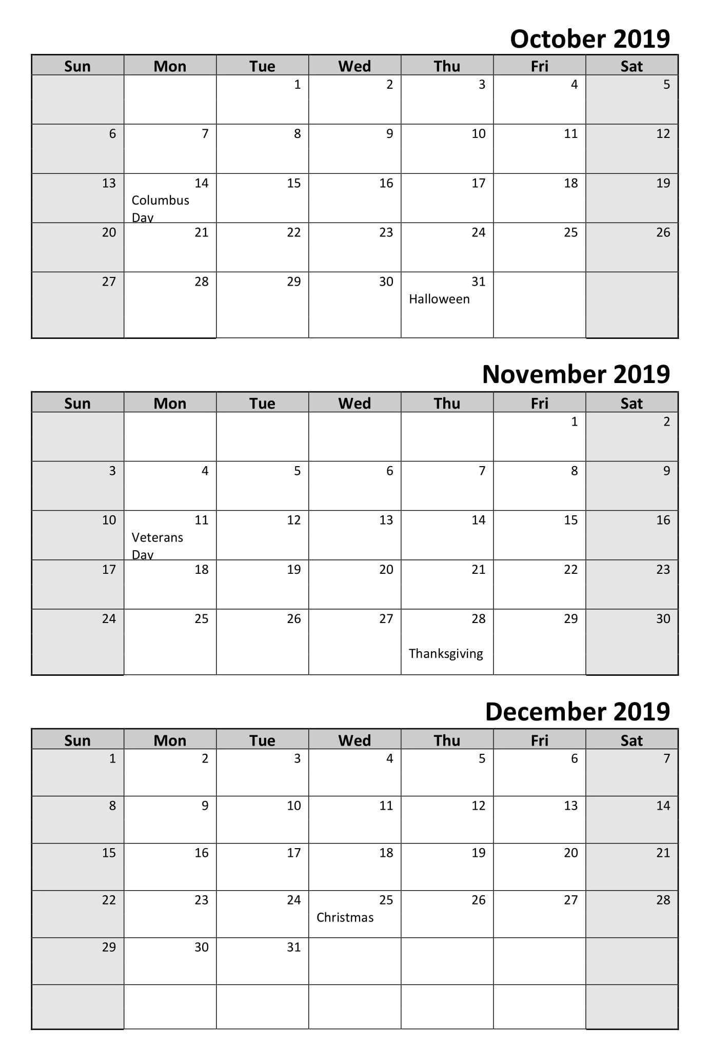 October To December 3 Month Calendar 2019   Calendar 2019