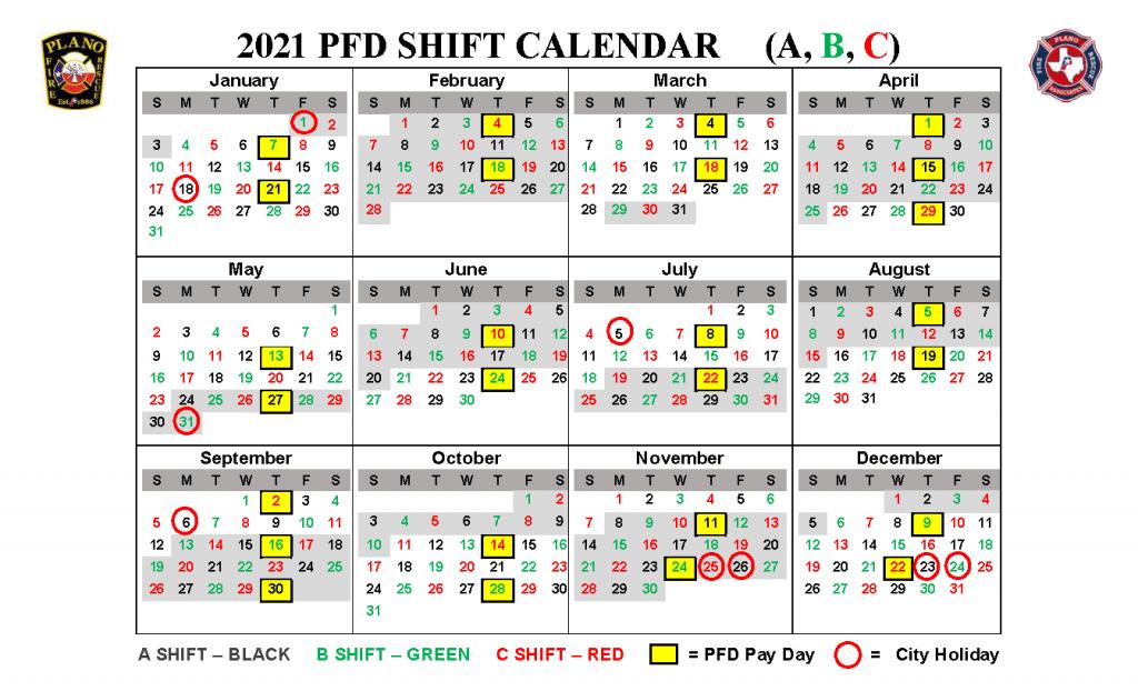 Pfr Shift Calendar - Plano Fire-Rescue Associates