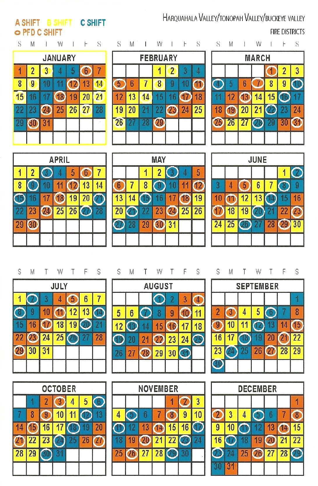Pick Firefighter 24/96 Shift Calendars   Calendar