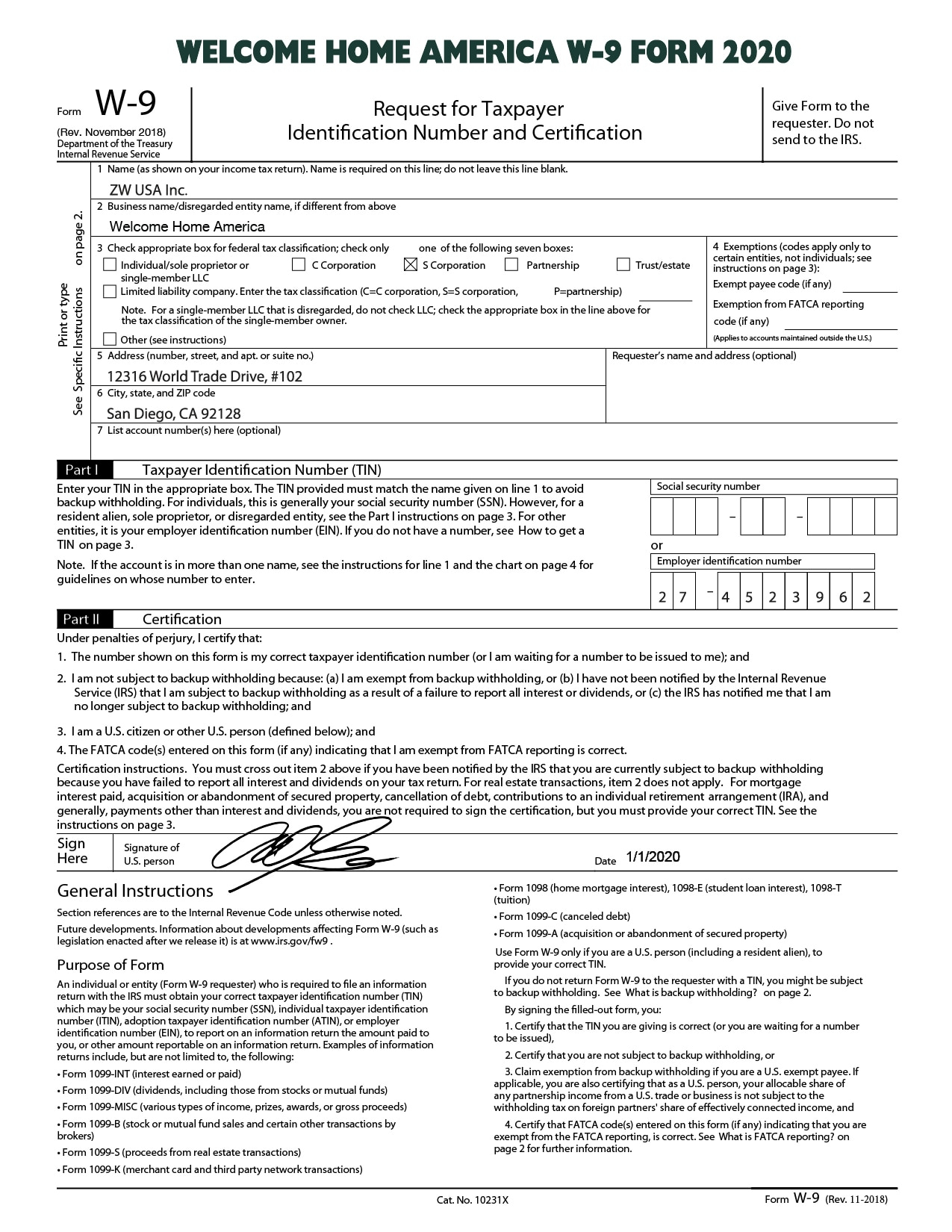 Print A W9 2020 | Example Calendar Printable