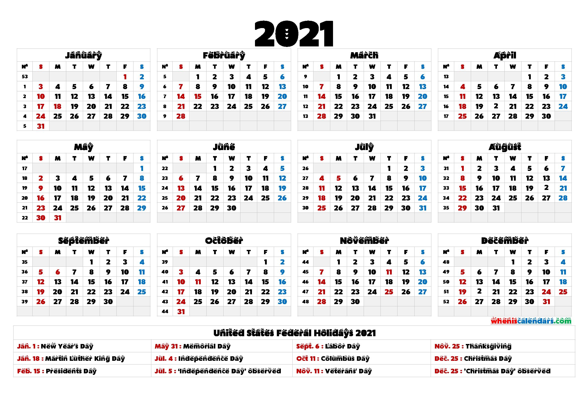 Printable 2021 Calendar One Page - 6 Templates - Free