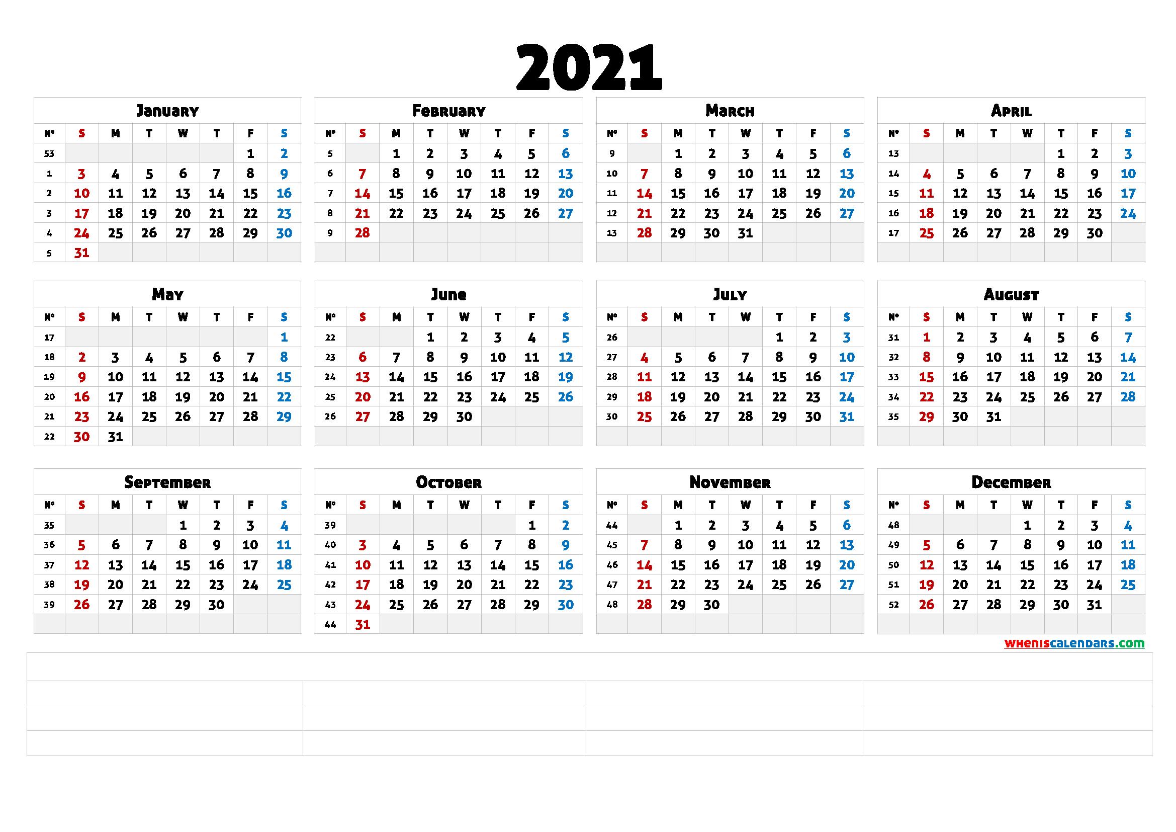 Printable 2021 Calendar With Week Numbers (6 Templates