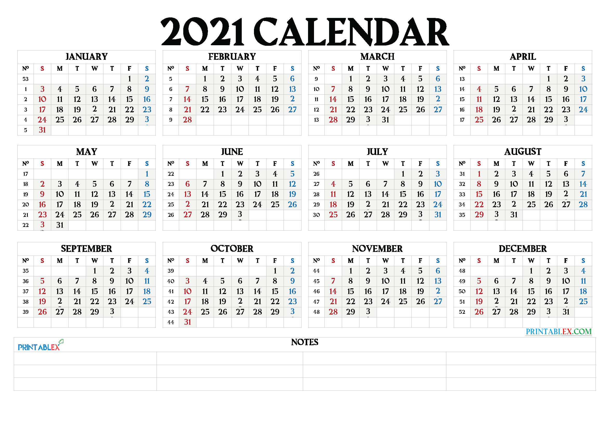 Printable 2021 Calendarmonth - 21Ytw66