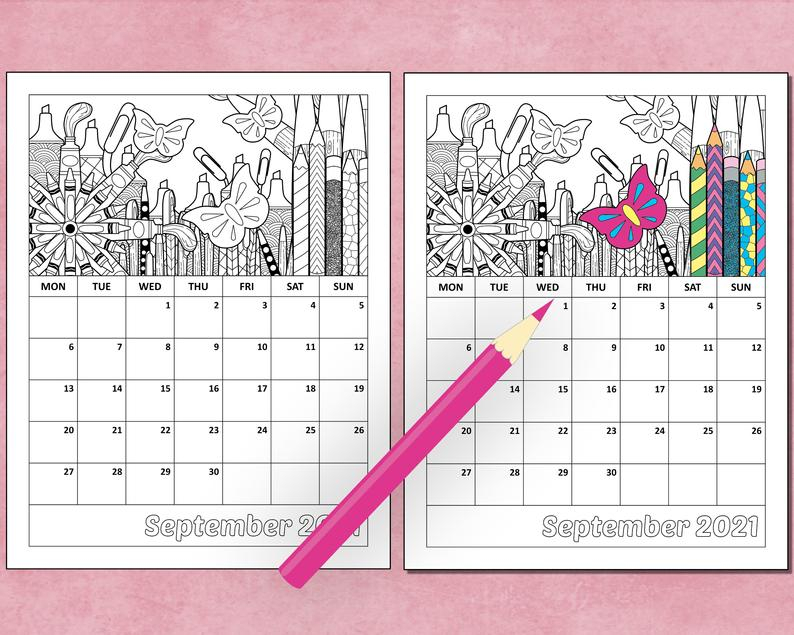 Printable 2021 Monthly Coloring Calendar 8.5 X 11   Etsy