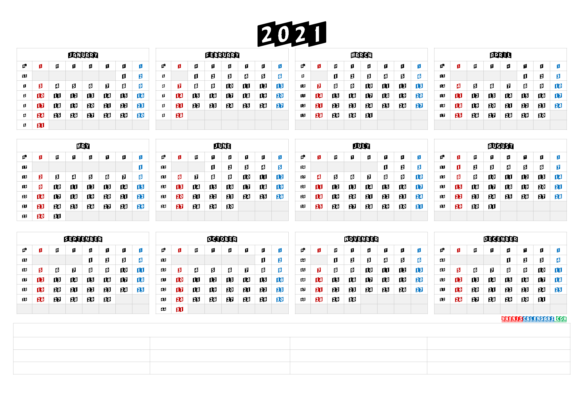 Printable 2021 Yearly Calendar (6 Templates) - Free