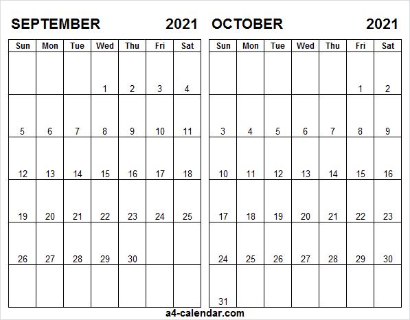 Printable A4 September October 2021 Calendar - A4 Calendar