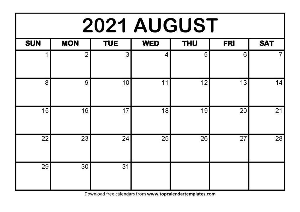 Printable August 2021 Calendar Template - Pdf, Word, Excel