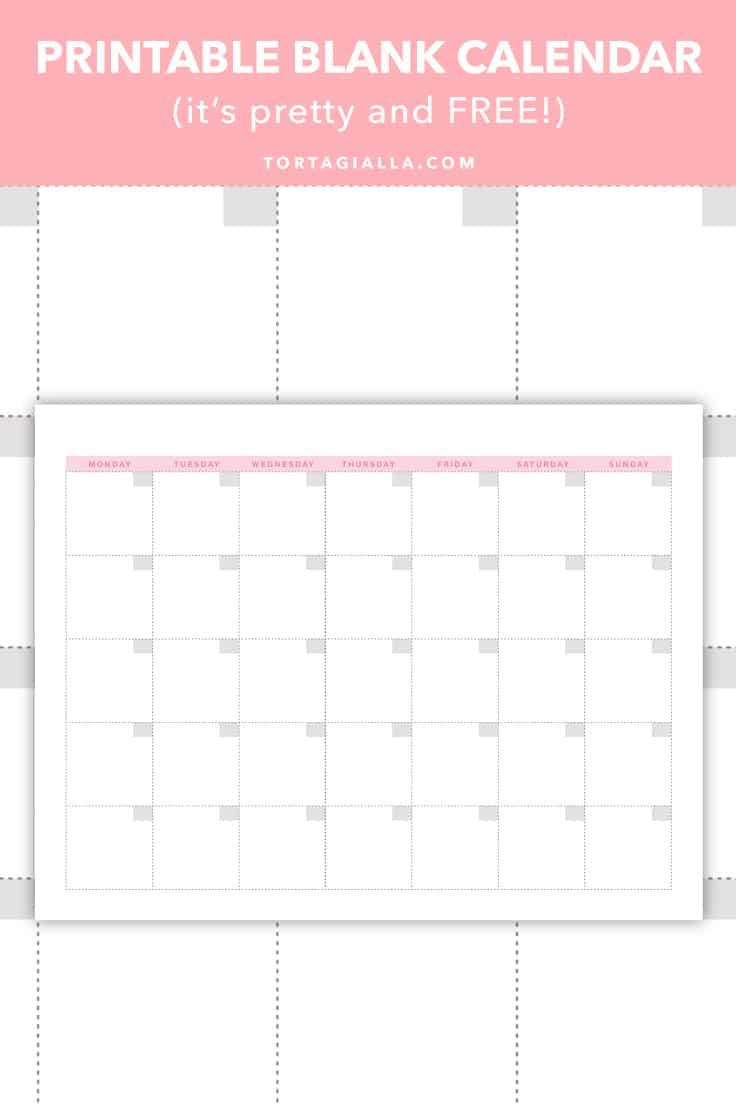 Printable Blank Calendar (It'S Pretty And Free!) | Tortagialla
