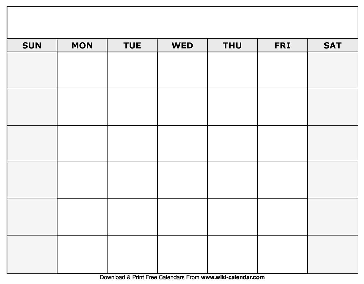 Printable Blank Calendar Sheets | Example Calendar Printable